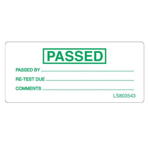 Passed Test Label - Green - LS803543