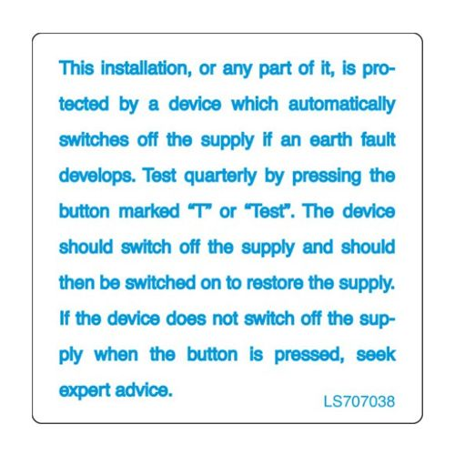 RCD Test Label - LS707038